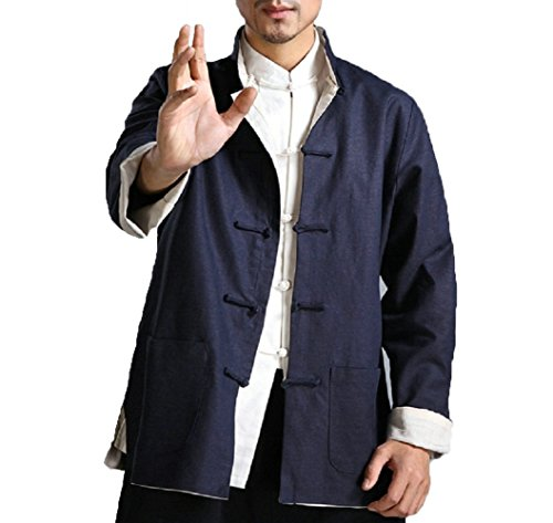 ZooBoo Kung Fu Jacket Both Sides Wear Tops Martial Arts Long Jersey (XL, Dark Blue with Beige)
