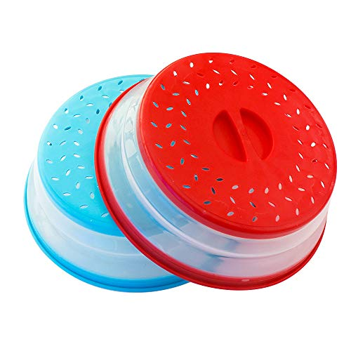 Pack of 2, Collapsible Microwave Food Cover BPA free TPR, 10.5inch, round with grip handle RED+BLUE
