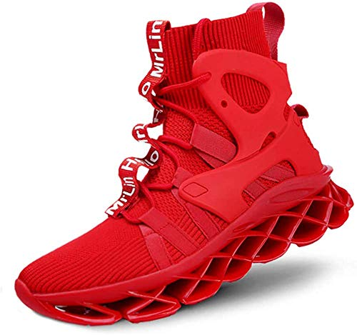 Hello MrLin Zapatillas de correr para hombre Slip On Athletic, calcetines de estilo hip hop, tenis, color Rojo, talla 47 EU