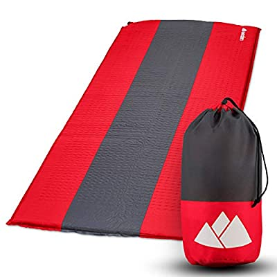 Wealers Self-Inflatable Mattress Sleeping Pad Camping Bed Mat, Comfort Series Camping Sleeping Lightweight 74x25 Inches (Red and Grey)
