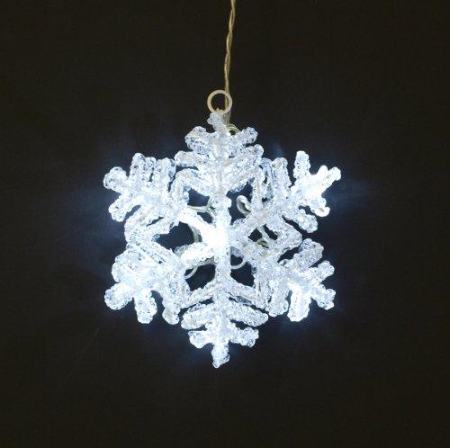 gartenmoebel-einkauf LED Fensterbild Schneeflocke aus Acryl 14,5m, Weiss