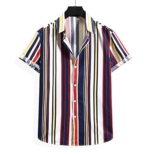Camisa a Rayas para Hombre, a la Moda, Estampado en Contraste, clásico, de un Solo Pecho, Suelto, Diario, Informal, básico, Camisa de Manga Corta S
