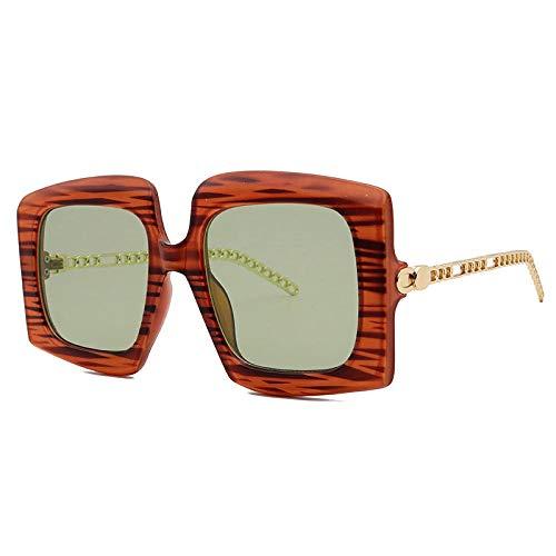 hqpaper Gafas de sol de mujer con montura de metal grande de comercio exterior, gafas de sol de moda, rayas marrones
