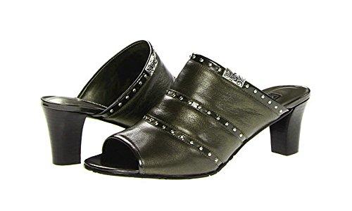 Brighton Teri Pewter Leather Peep-Toe Heeled Sandals (7M)