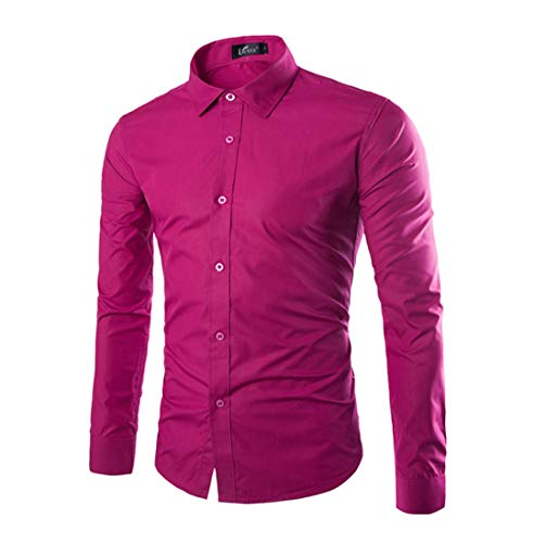 Herren Funky Floral Checked Shirt Lässiges Langarmhemd Button Langarmhemden Printed T-Shirt Kariertes Einfarbiges Hemd,M