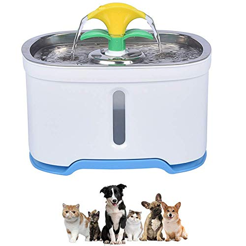 YLKCU Bebedero Gatos Fuente de Agua para Gatos Mejora de Acero Inoxidable, Bebedero silencioso de Mascotas para Perros eléctrico LED de 2.5L (Color: Boquilla Tipo T)