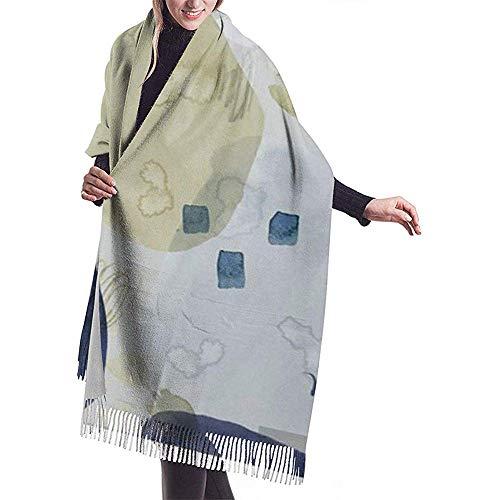 Lápices de colores y acuarelas Manchas y manchas azules y beige Envoltura de mantón Bufanda cálida de invierno Capa Bufanda grande y suave