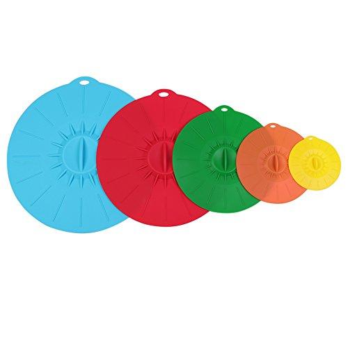 Evantek Lot de couvercles à ventouse en silicone 5 tailles pour tasse bol micro-ondes