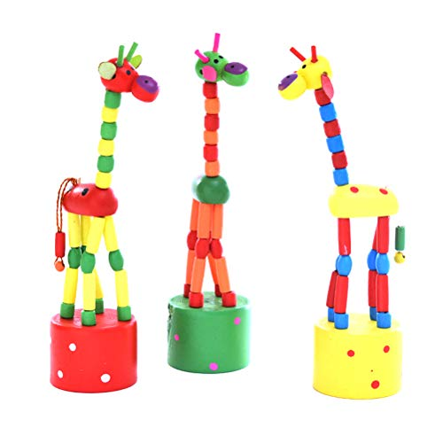 Denkspiel WOQOOK Holz Kinder Holz Giraffe Spielzeug Tanzen Stehen Bunte Schaukel Giraffe Holz Spielzeug Drahtkontrolle Kind Lernen Bildung Spielzeug