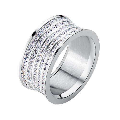 HKDEB Donna Titanio Acciaio 5 Row Pave Taglio Rotondo Zirconia Anello di eternità Wedding Band 8mm Larghi