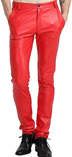 Red leather pants for men