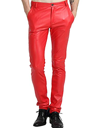 Yeokou Men's Skinny Straight Leg Tapered Pu Faux Leather Motorcycle Biker Pants (34, Red)