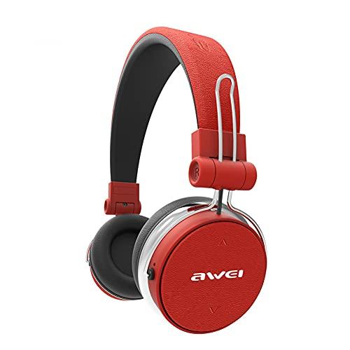 XJPB Auriculares Bluetooth inalámbricos Auriculares de reducción de Ruido Activo con micrófono Bilateral estéreo Bajo de Profundidad Ligero para Juegos Deportivos PC Celular Teléfono Celular,Rojo