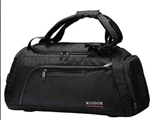 Sport Gym Duffel Bag with Sweat Control Shoe Compartment, Water Resistant, Large Sports Duffle Motion 32 Large by Swiss RUIGOR - Black