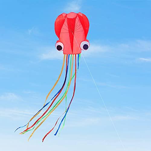 FENRIR Oktopus Kinder Drachen,4M großer Octopus Drachen Flugdrachen Einleiner- inkl. 100m Drachenschnur und Langen bunten Schwänzen,Drachen Flugdrachen für Mädchen Jungen Erwachsene
