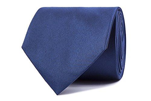 Sologemelos - Cravate Unie - Bleu Fonce 100% soie naturelle - Hommes - Taille Unique - Confection artesanale Made In Italy