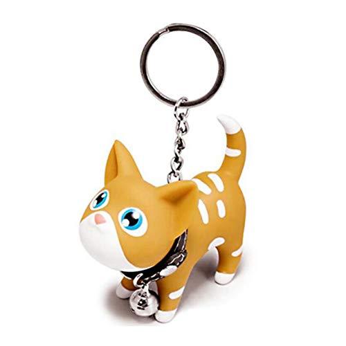 WRISTCHIE - Set di 3 portachiavi a forma di gatto, gattino, amante dei gatti, portachiavi dell'auto, ciondolo per borsa (1 pezzo giallo gatto)