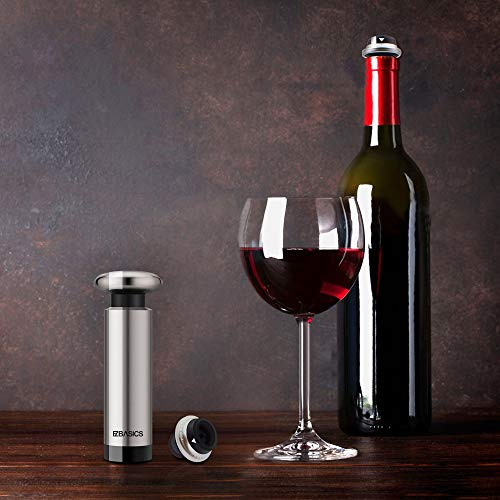 EZBASICS Wine Saver Vacuum Pump with 4 Wine Bottle Stoppers, Stainless Steel
