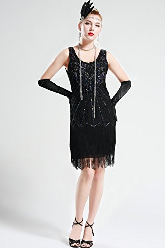 BABEYOND Women's Flapper Dresses 1920s V Neck Beaded Fringed Great Gatsby Dress (Lavender Black, Medium)
