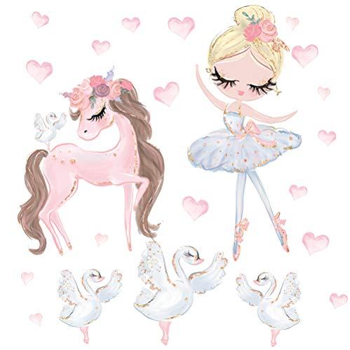 Pandawal Wandtattoo Pferd Ballerina Schwan Kinderzimmer Deko Mädchen Mädchenzimmer Wanddeko Badezimmer Rosa Wandaufkleber (M)
