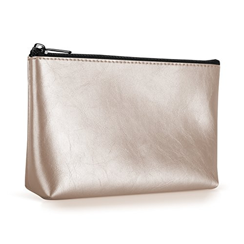 Ayotu PU Leather Lightweight Waterproof Portable Storage Pouch Bag Case Accessories Organizer, Electronics Accessory Travel Organize Case, Cable Management Hard Drive Bag -Gold