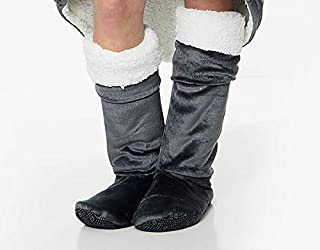 Gaveno Cavailia Premium Hug & Snug Anti Slip, Warm Snuggly Fleece Footwear, Ultra-Soft Boot Socks for Adults, Charcoal, Po...