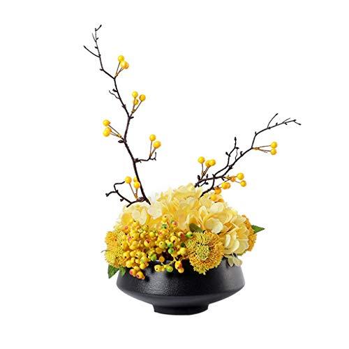 Kunstmatige Bloemen met Keramiek Vaas Indoor Geel Fake Flower Plant Huis Centerpiece Décor (Size : S)