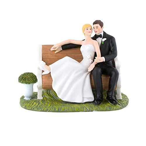 WEDDINGSTAR Sitting Pretty on a Park Bench Couple Porcelain Figurine Cake...