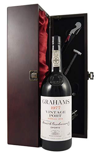 Grahams Vintage Port 1977 en una caja de regalo forrada de seda con cuatro accesorios de vino, 1 x 750ml