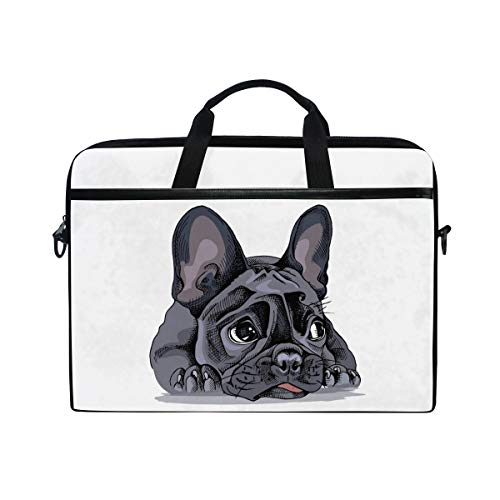 AGONA Cute French Bulldog Animal Laptop Shoulder Messenger Bag 15 inch Case Sleeve for 14 Inch Laptop Case Laptop Briefcase Compatible Notebook Ultrabook Chromebook