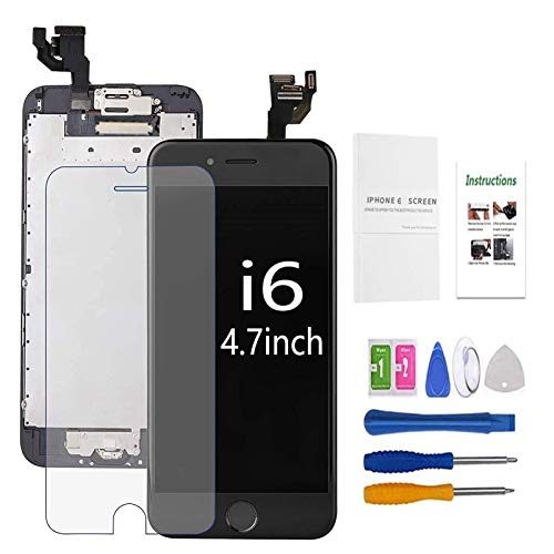Screen Replacement Compatible with iPhone 6 Black 4.7(inch) LCD Display Touch Digitizer Assembly Repair Kit & Home Button,Ear Speaker, Front Camera,Proximity Sensor ,Repair Tools