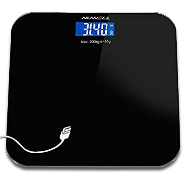 Rechargeable Bathroom Scale, NUWELL USB Charging 1st Digital Body Weight Health Scale with Large 3. 5  LCD Display Auto-On Technology and Sensor Accuracy for Superior Readings – 440lbs Max (Black)