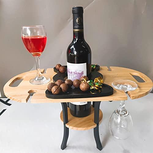 Tavolo da Picnic All'aperto Tavolo da Snack Portatile in bambù Naturale 2-4 Tavolo per L'uso in Parchi E Concerti in Spiaggia, Bicchiere da Vino Rosso E Tavolo da Giunzione per Vino Rosso,Wood Color