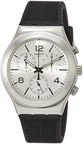 Swatch Damen Chronograph Quarz Uhr mit Leder Armband YCS111C