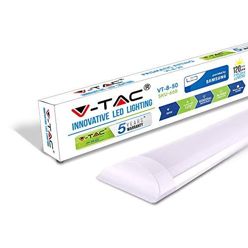 V-TAC VT-8-50 50W 5ft LED-Lichtleisten Integrierte Röhrenlampe 4000K Tageslichtweiß 1500x74x24mm Wand-und Deckenbeleuchtung 30000h Lange Lebensdauer, Plastic, 50 W, Tageswei\xdf