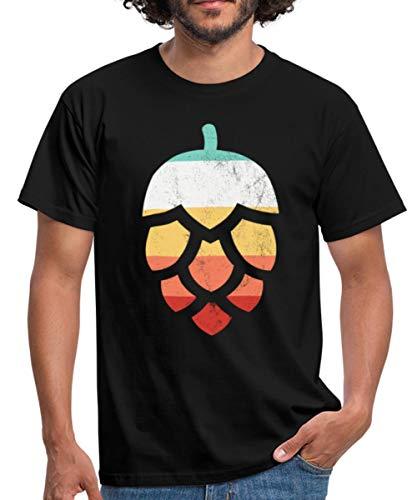 Hopfen Bier Retro Männer T-Shirt, XL, Schwarz