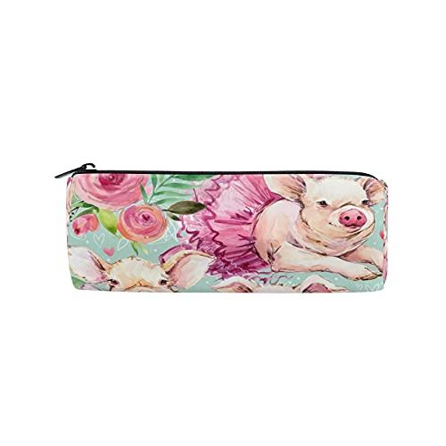 JNlover - Estuche para lápices de acuarela, diseño de cerdo de flores con forma de cerdo, redondo, para adolescentes, niños, oficina