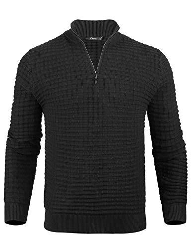 iClosam Maglione Uomo Invernale Collo Alto Marca Slim Fit Maglia Pullover Long-Sleeve Waffle Sweatershirt Uomos