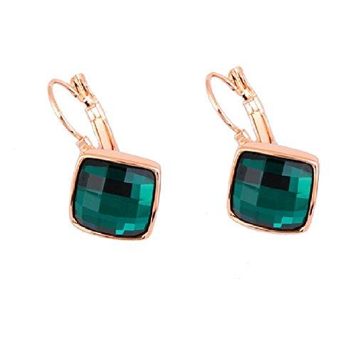 Crystals from Swarovski Esmeralda simulada verde Rombo Cuadrado Pendientes 18k Chapado en oro rosa