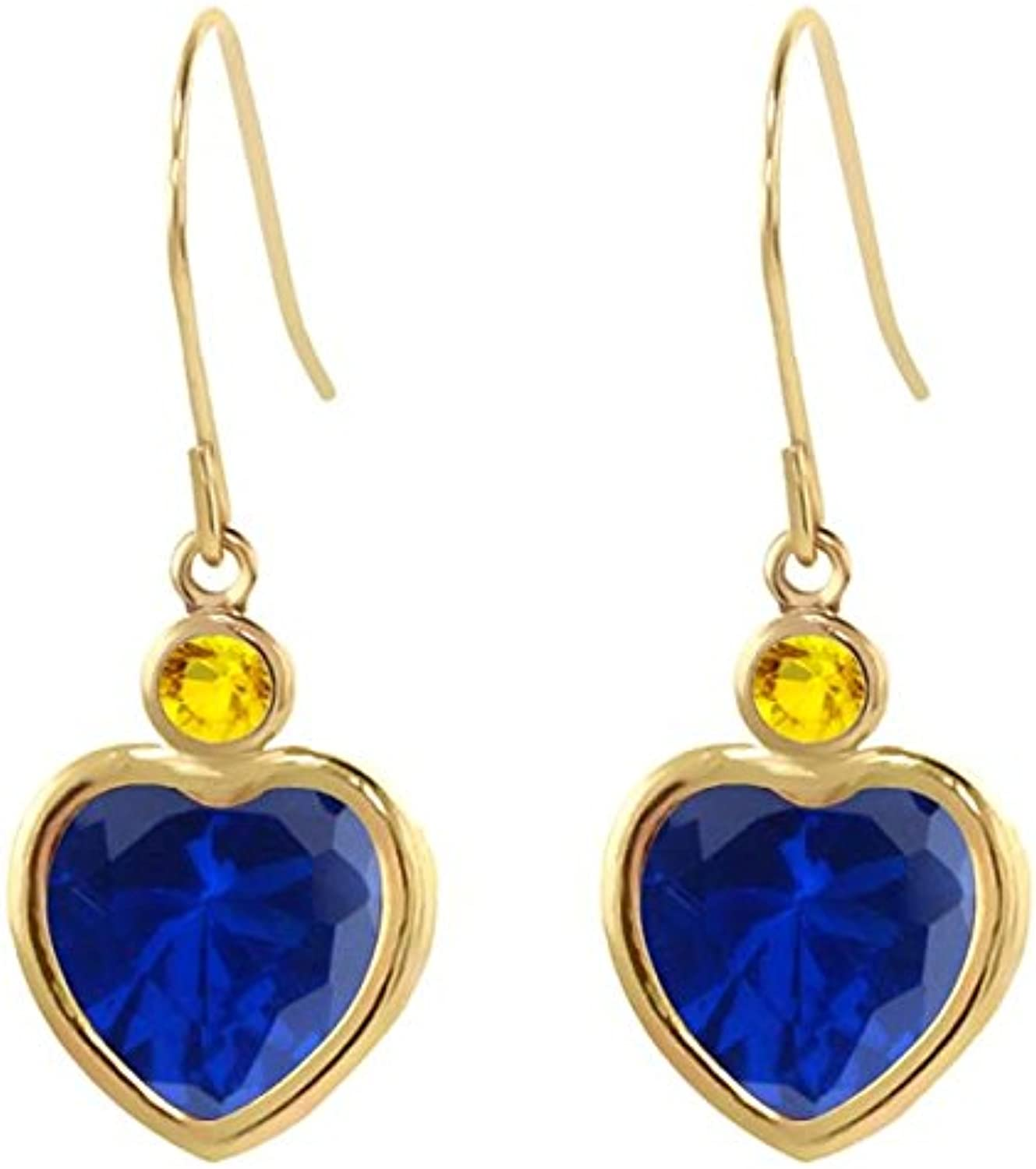 4.86 Ct bluee Simulated Sapphire Yellow Sapphire 14K Yellow gold Earrings
