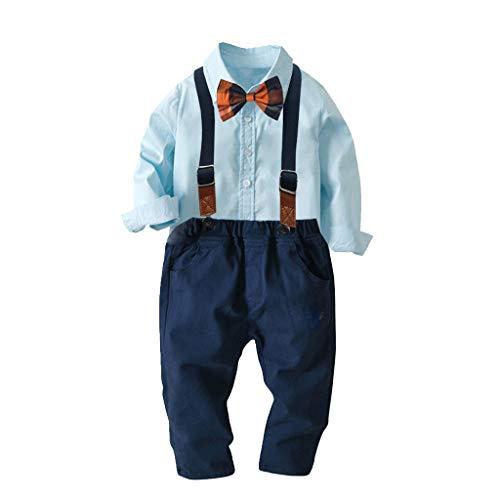 MAYOGO Conjunto Ropa Bebe Niño Disfraz Bebe Niño Bautizo Camisa Tops Manga Largo Azul Pantalones Babero Pajarita Ropa Bebe Niño Marvel Ropa Bebe Boda Niño 1-5 Años