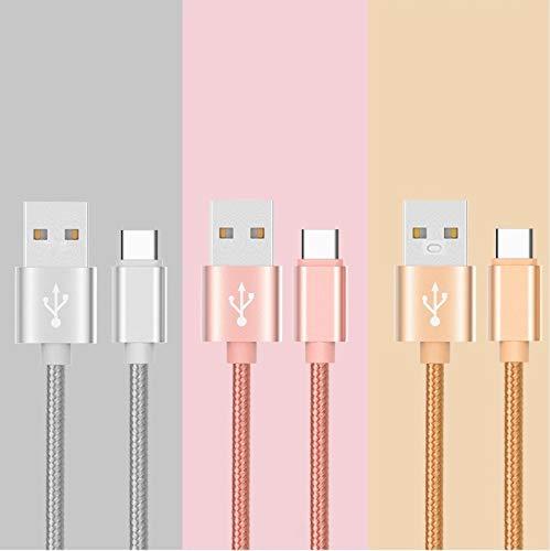Shot Case - metalen kabel gevlochten type C voor Nintendo Switch USB-oplader, 1 m, omkeerbaar, synchroniseren, nylon (goudkleurig)