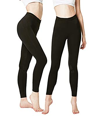 DEVOPS Women's 2 Pack Thermal Long Johns Underwear Leggings Pants (Medium, Black/Black)