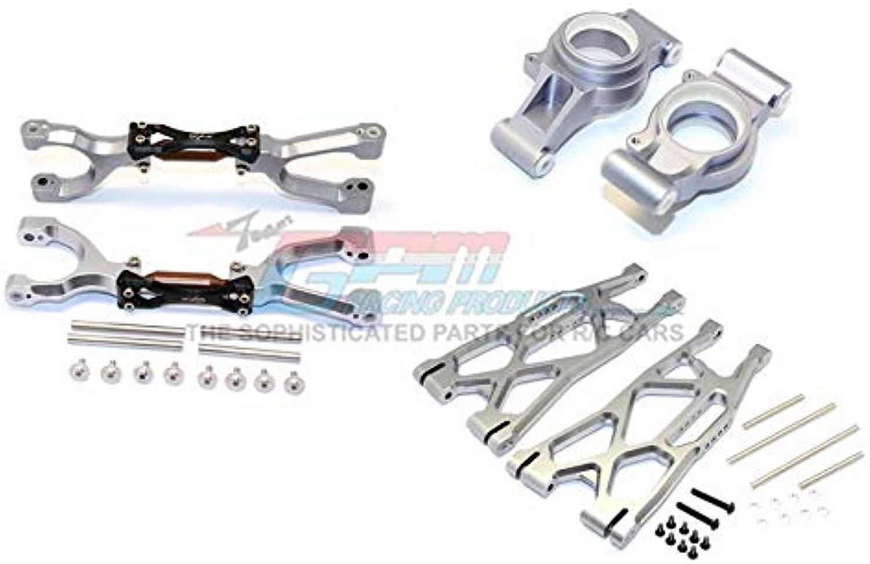 G.P.M. Traxxas X-Maxx 4X4 Tuning Teile Aluminium Rear Upper + Lower Arms + Knuckle Arms Set - 40Pc Set grau Silber