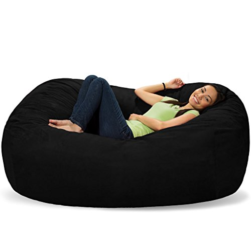 Extra Large 6' Fuf Comfort Suede Bean Bag Cover Only-Black by Ink Craft