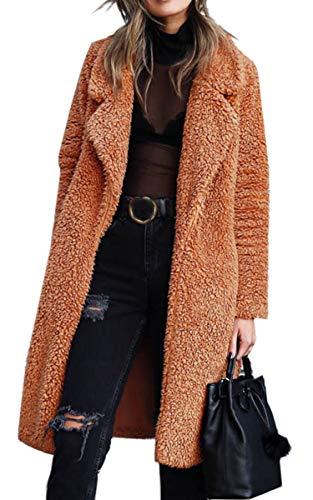 Angashion Women's Fuzzy Fleece Lapel Open Front Long Cardigan Coat Faux Fur Warm Winter Outwear Jackets with Pockets Caramel S