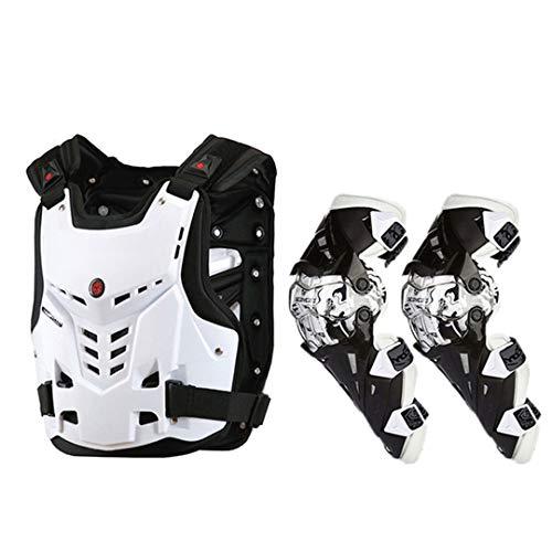 Motocicletas de Motocicleta Montando Protector de Pecho Motocross Off-Road Chaleco de Carreras + Protector de la Rodilla de la Motocicleta White Set XL