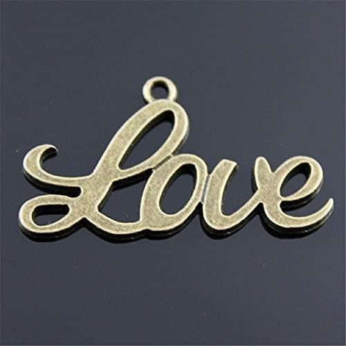 Colgante 3 Piezas Vintage Love Word Charm Word Love Colgante para Hacer Joyas Encantos De Amor De Color Bronce Antiguo 18X40Mm