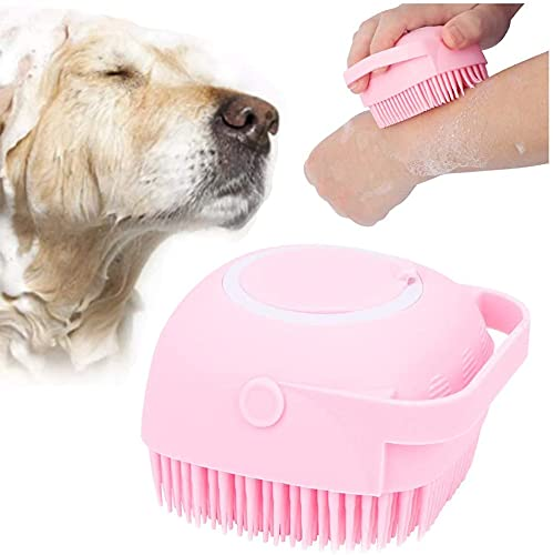 LSZ Cepillo para mascotas Cepillo de baño de mascotas con champú Almacenamiento de jabón Mascota Spa Masaje Peine de goma Silicona suave Puppy Cats Ducha Pelo de pelo Pincel de aseo (rosa) Cepillo par