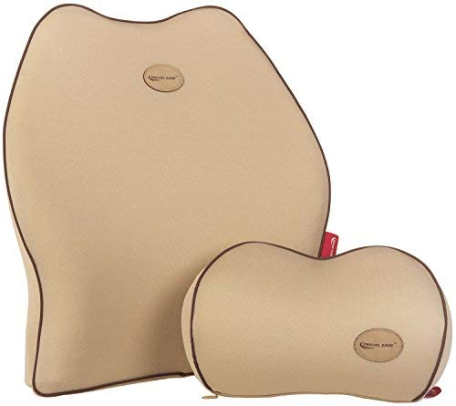Travel Ease Car Lumbar Support Back Cushion & Headrest Neck Pillow Kit for Seat Cushion Memory...